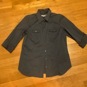 Old Navy Black Button Up Collared Shirt Size Large